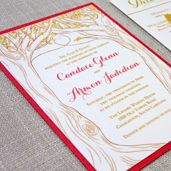 Oak Tree Sketch Invitation with hot pink backing