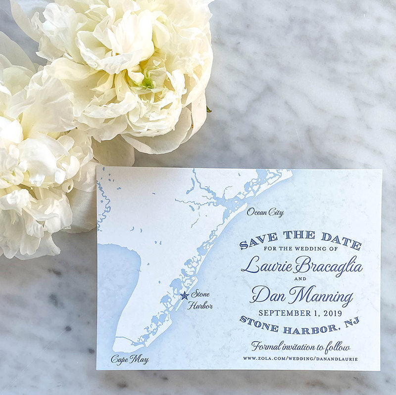 Cape May Map Save the Date by Scotti Cline Designs