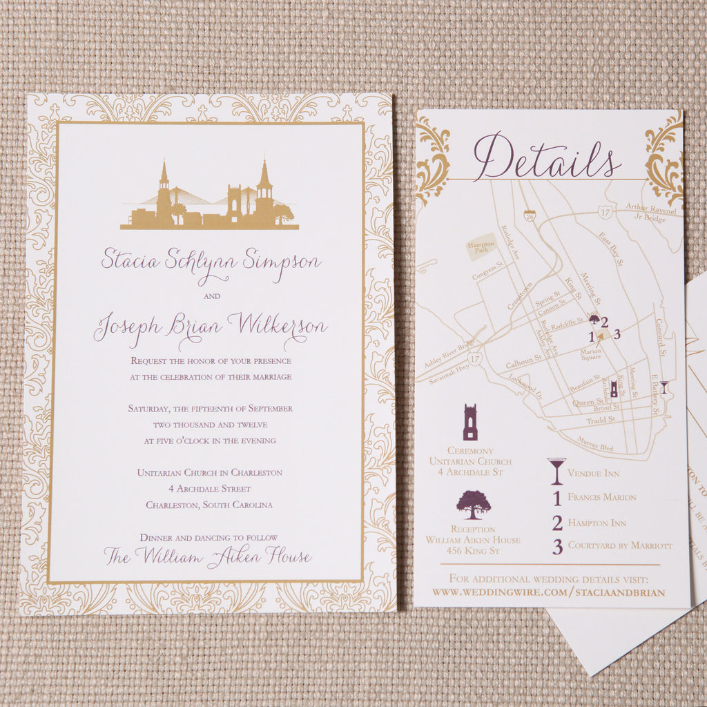 Charleston Skyline Wedding Invitation. Picture by Jennifer Bearden Photography.