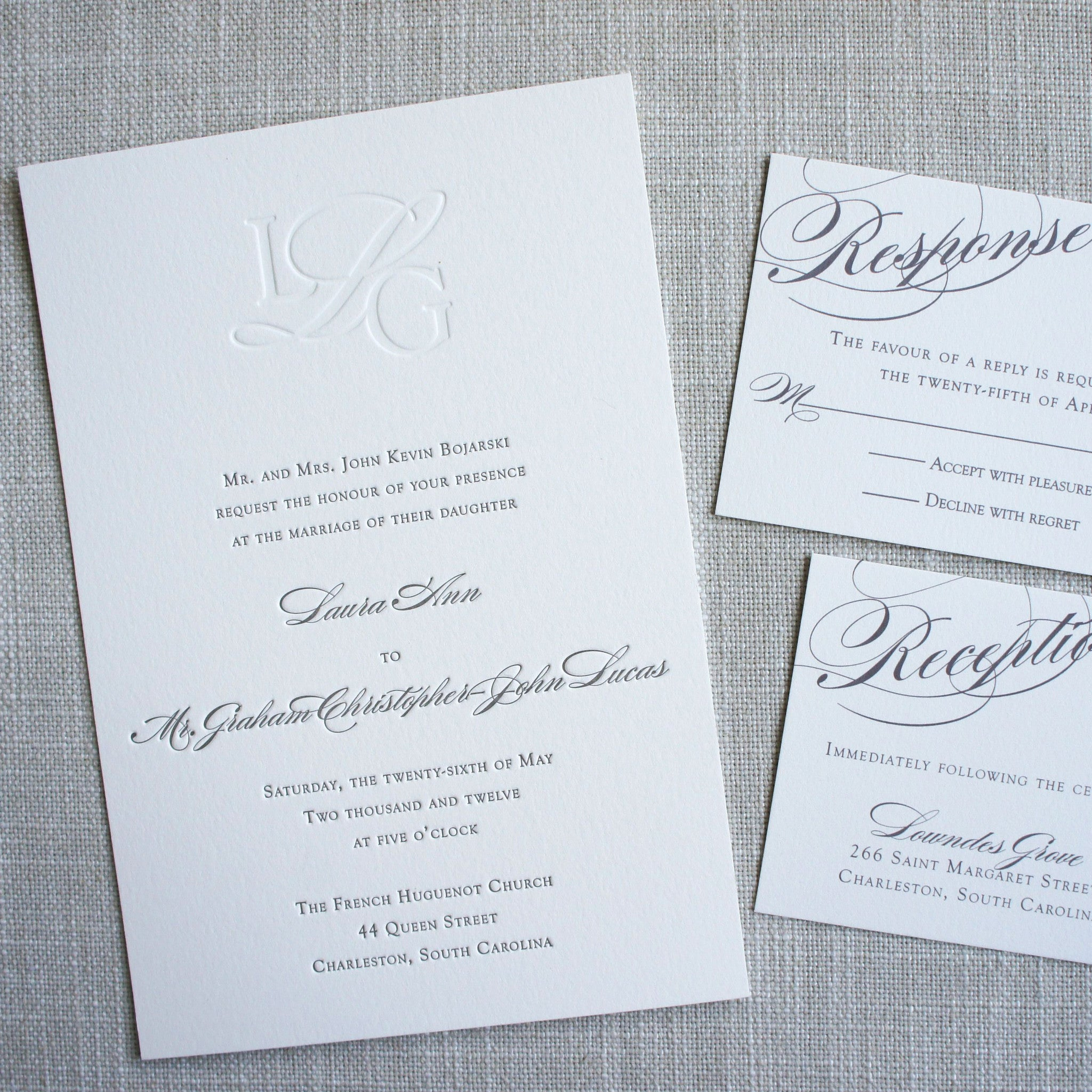 classic monogram letterpress wedding invitation - Letterpress Wedding Invitations