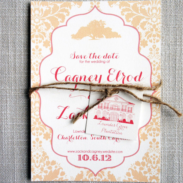 Oak Tree and Damask Save the Date featuring a sketch of Lowndes Grove Plantation tied on with jute twine.