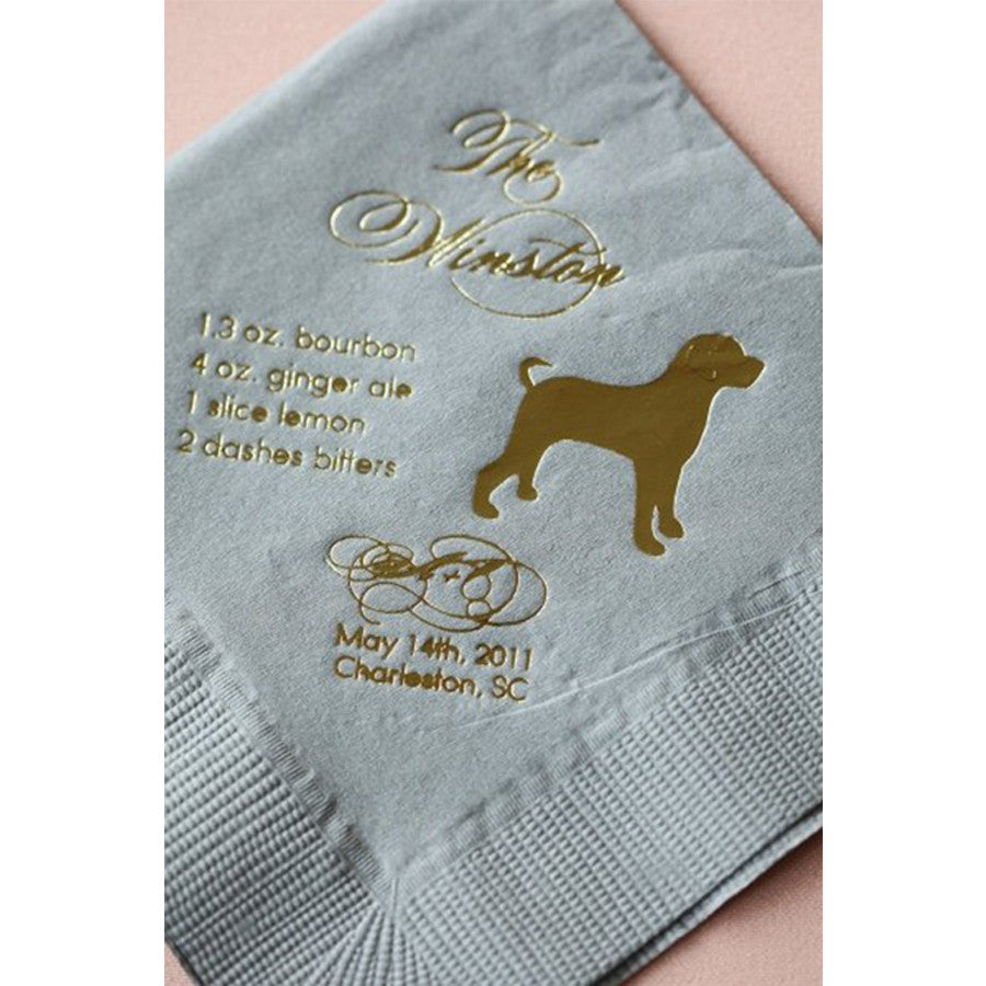 Dog Silhouette Cocktail Napkin