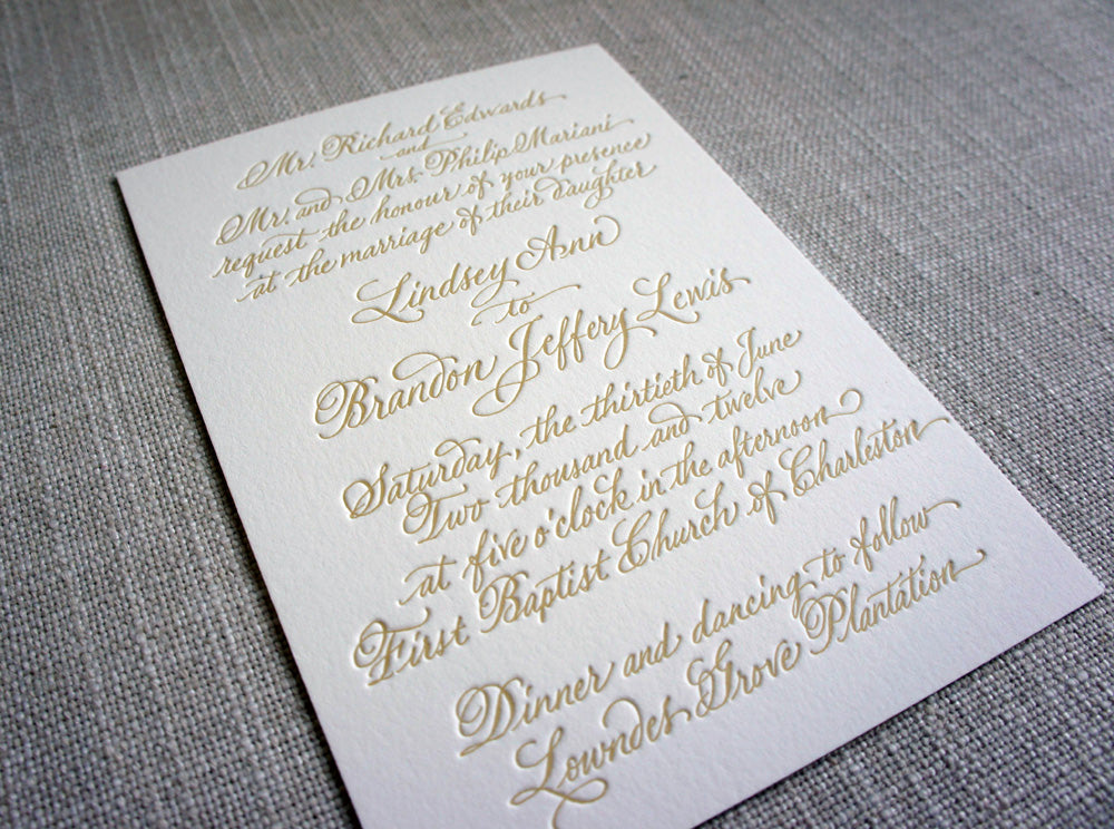 Cost Of Calligraphy For Wedding Invitations: Calligraphy Letterpress Wedding Invitation