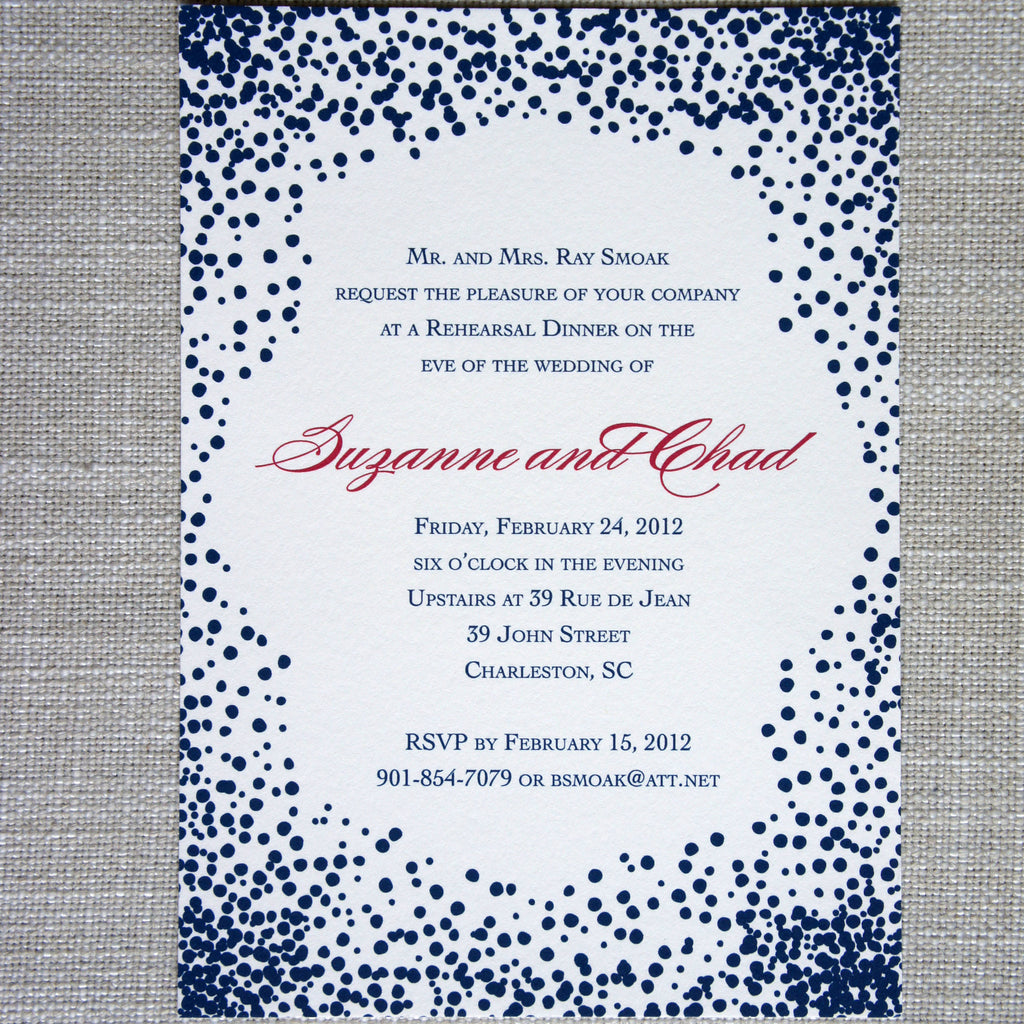 Fun Dots Invitation for a wedding or rehearsal dinner