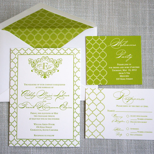 Green Pattern Letterpress Invitation featuring trellis design