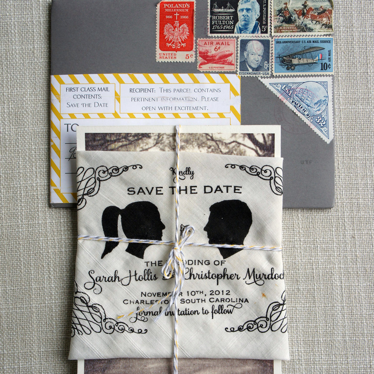 Vintage Handkerchief Save the Date
