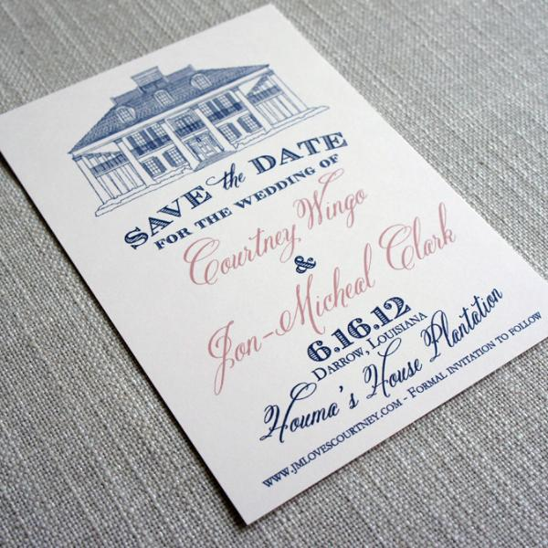Houmas House Plantation Save the Date in navy and pink