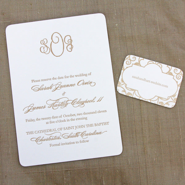 Classic Monogram Letterpress Save the Date with small details card featuring iron gate work of Charleston.