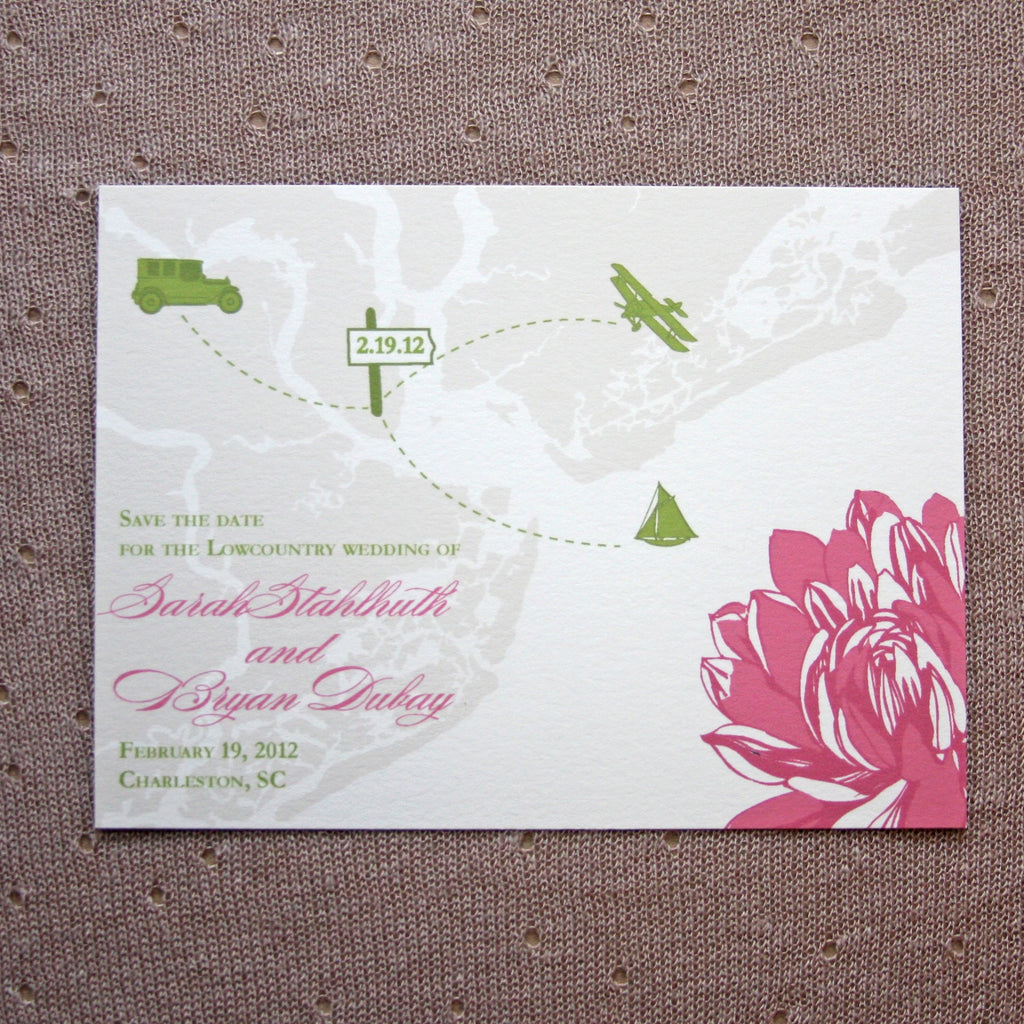 Charleston Map and Flower Save the Date
