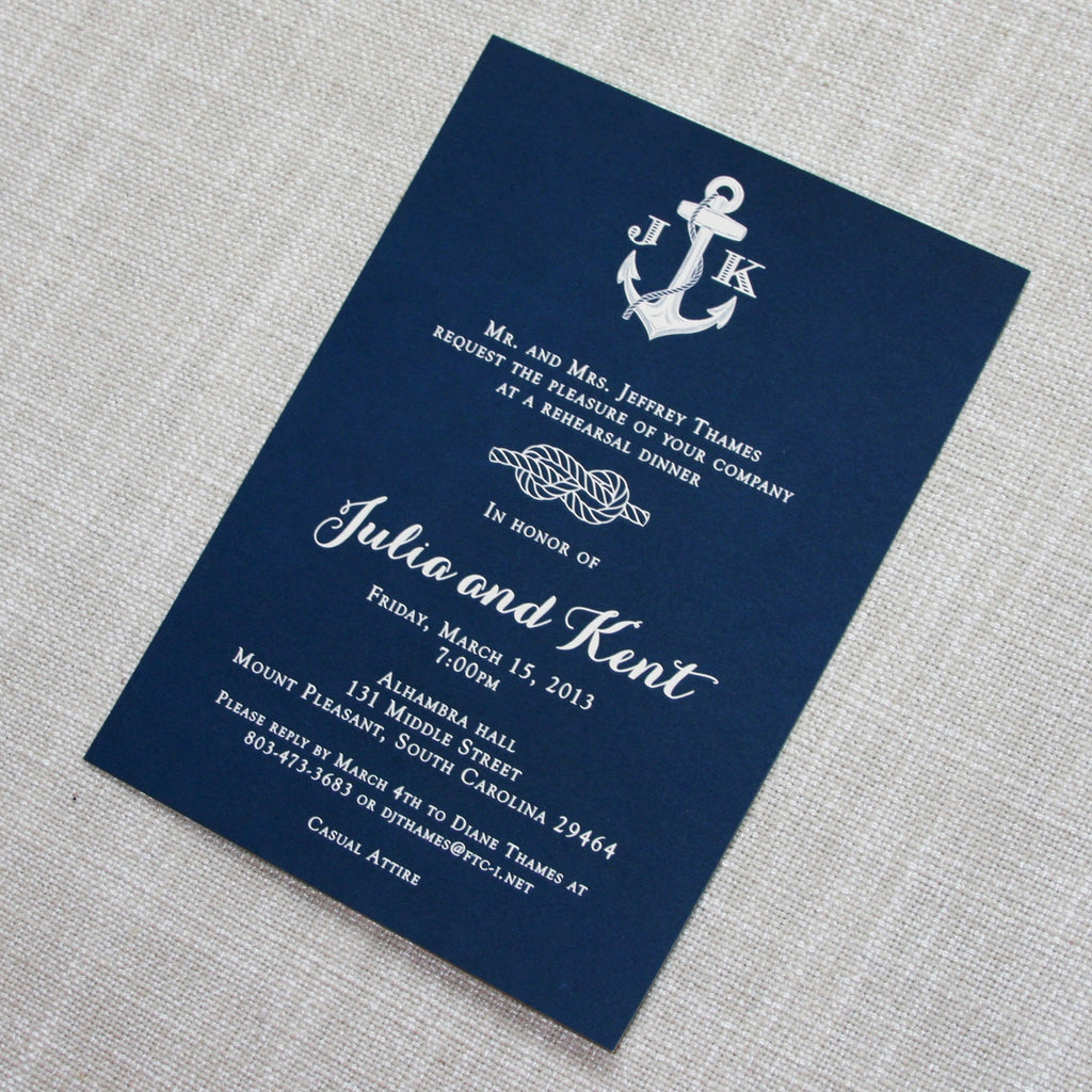 Navy Nautical Rehearsal Dinner Invitation