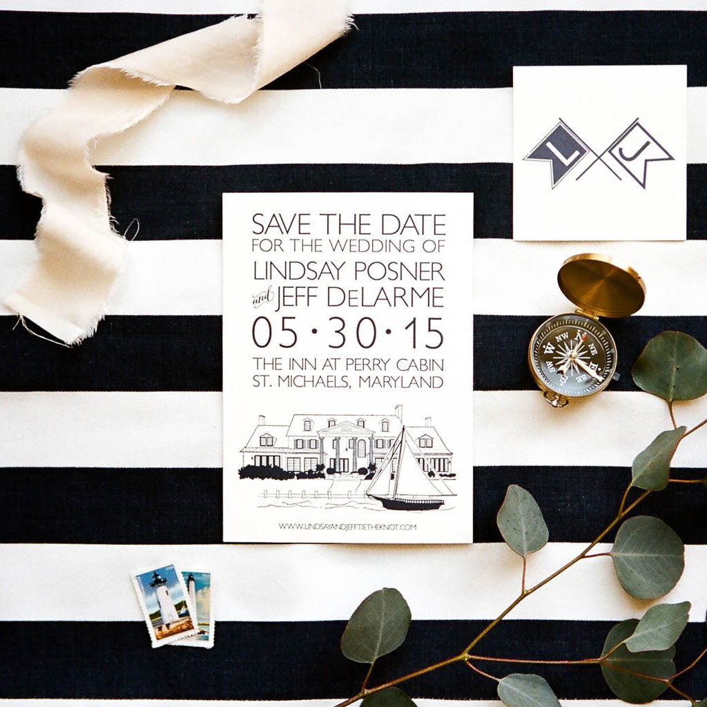 Letterpress Inn at Perry Cabin Save the Date by Scotti Cline Designs. Photo by Brian Tropiano Weddings