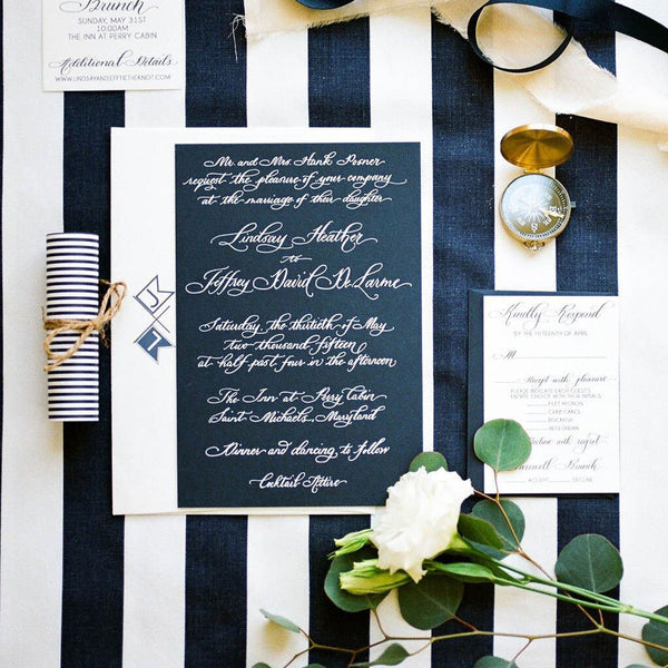 White Foil on Navy Calligraphy Wedding Invitation