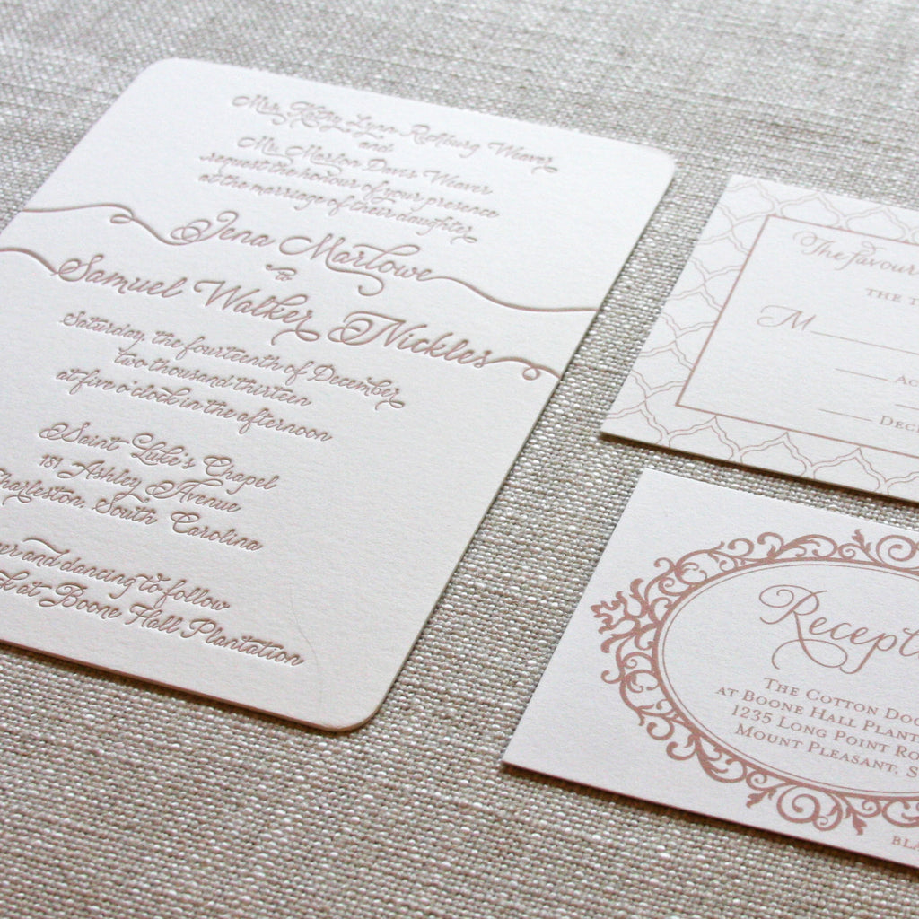 Wedding Invitation with taupe letterpress and names trailing names off the edges.