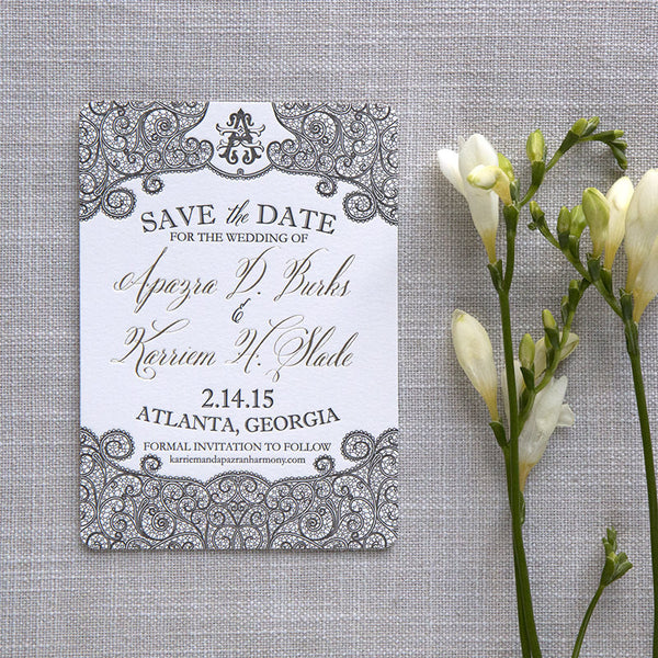 Foil and Letterpress Lace Save the Date
