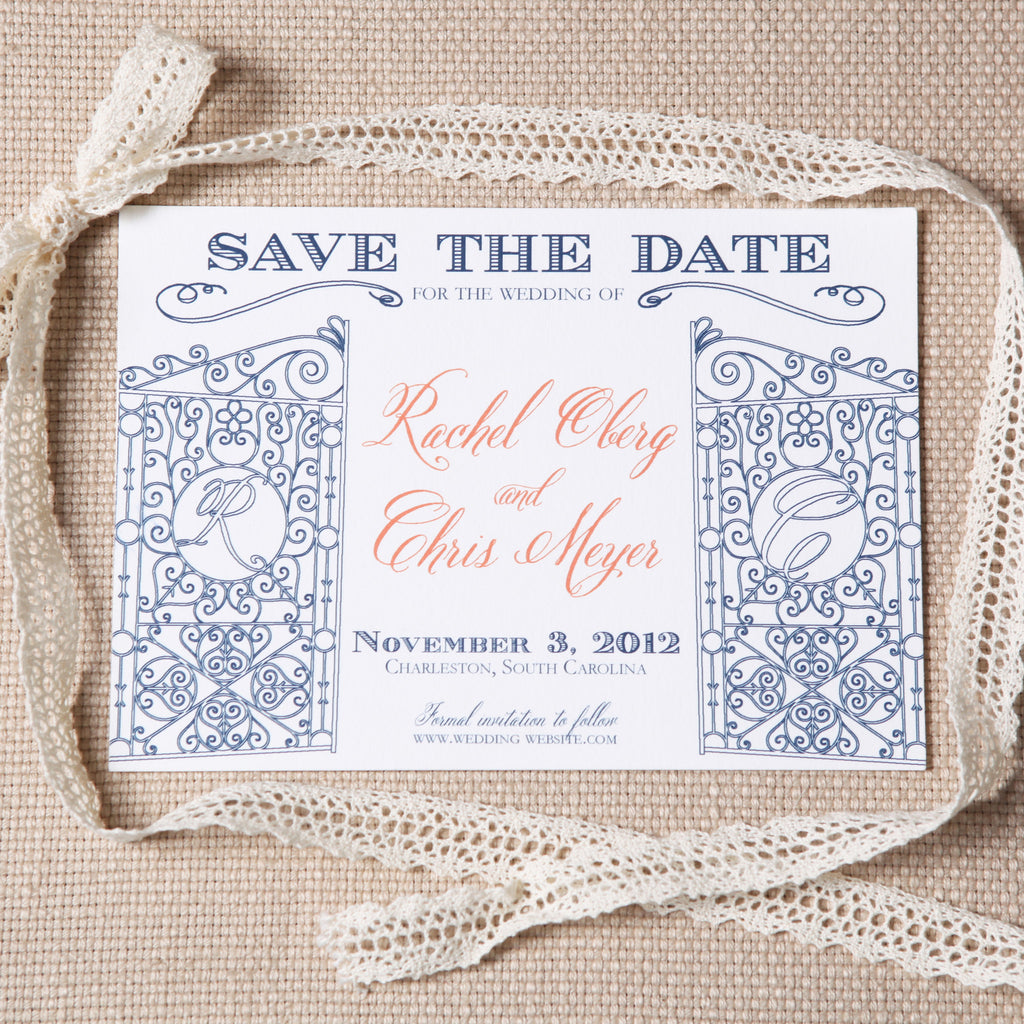 Legare Waring House Save the Date by Scotti Cline Designs - photo by Jennifer Bearden Photography