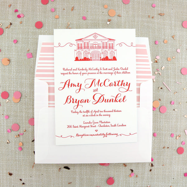 Letterpress Lowndes Grove Plantation Wedding Invitation in Charleston, SC