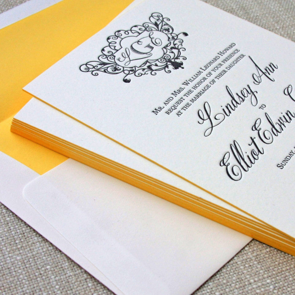 Letterpress Chevron Wedding Invitation with coordinating yellow edge painting and envelope liner