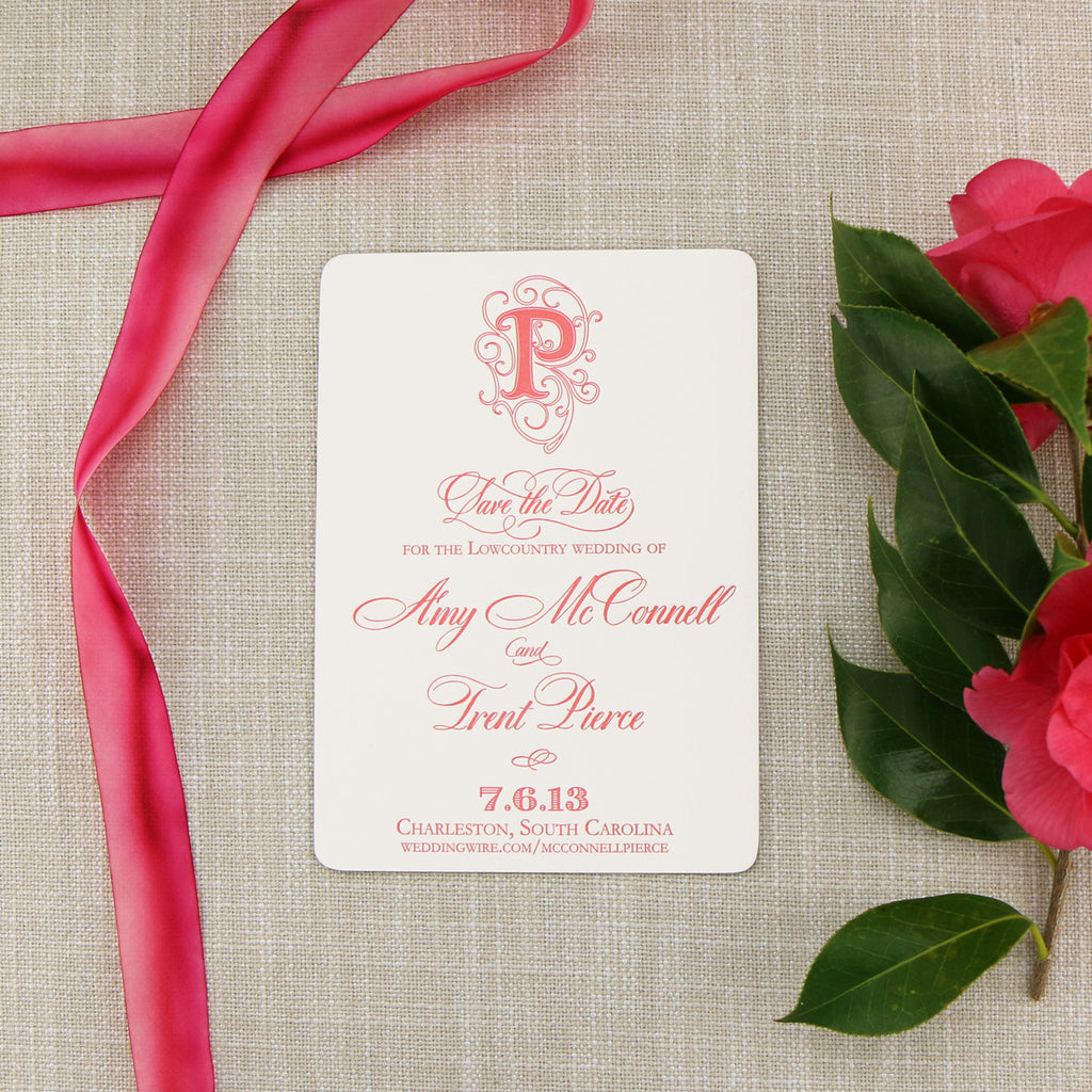 Coral Letterpress on Monogram Flourish Save the Date