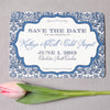 Navy Damask Letterpress Save the Date - picture by Jennifer Bearden Photography