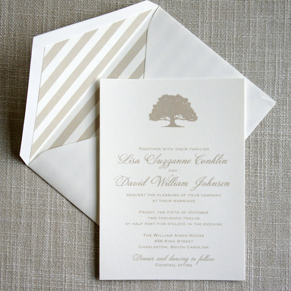 Oak Tree and Peony Wedding Invitation by Scotti Cline Designs