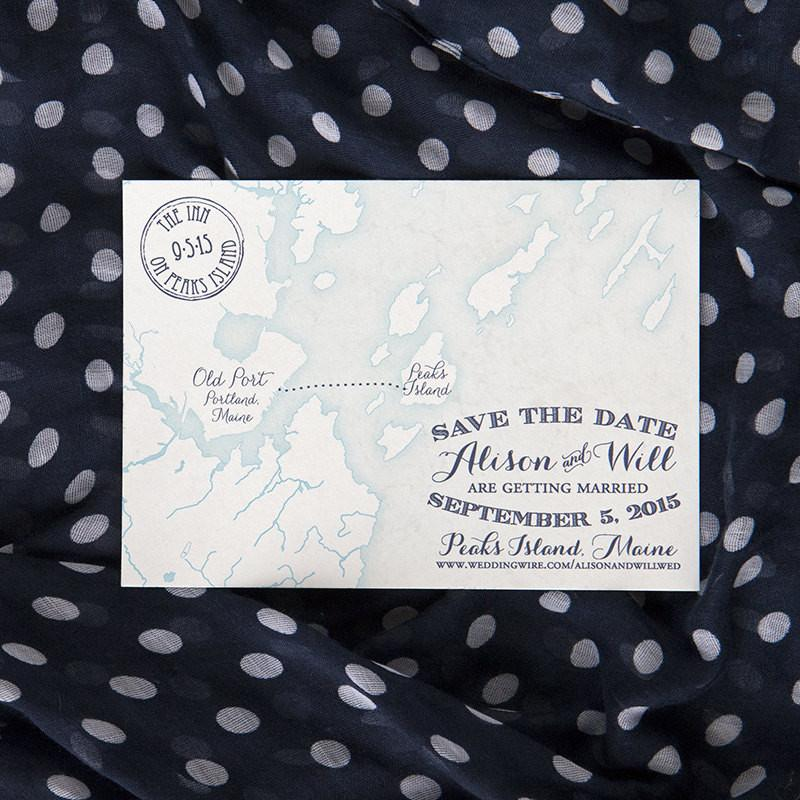 Peaks Island Maine Map Save the Date