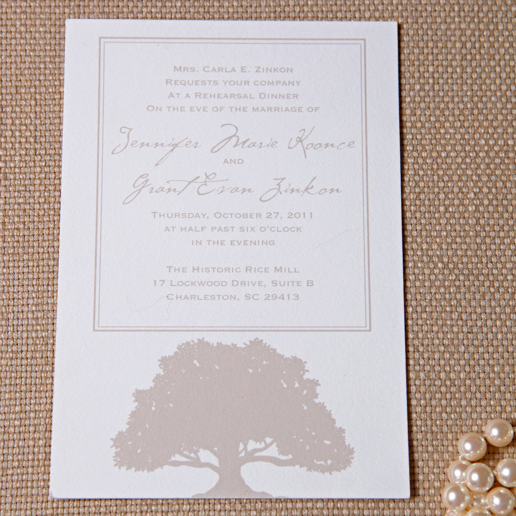 Oak Tree Rehearsal Dinner Invitation - picture by Jennifer Bearden Photography