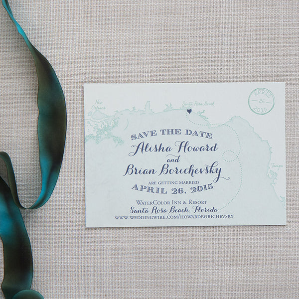Florida Gulf Coast Map Save the Date by Scotti Cline Designs