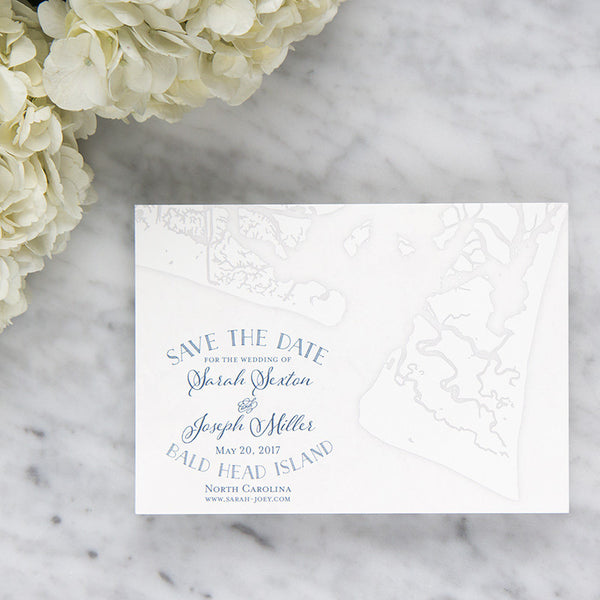 Bald Head Island Map Save the Date by Scotti Cline Designs