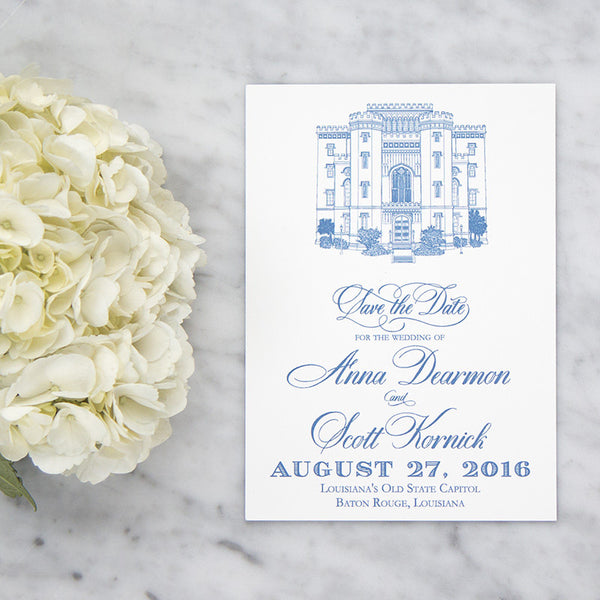 Louisiana's Old State Capital Sketch Save the Date by Scotti Cline Designs