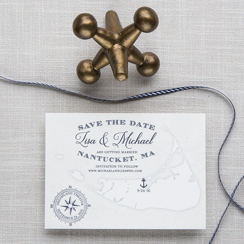 Nantucket Massachusetts Map Save the Date by Scotti Cline Designs