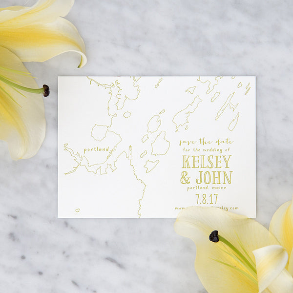 Letterpress Peaks Island Map Save the Date by Scotti Cline Designs