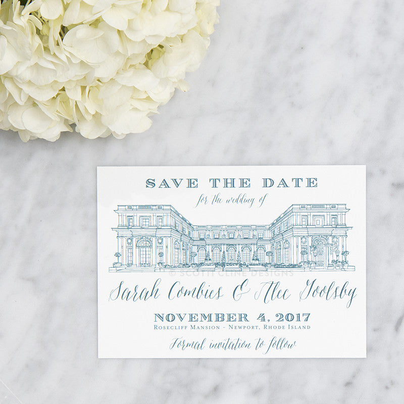 Rosecliff Mansion Save the Date by Scotti Cline Designs