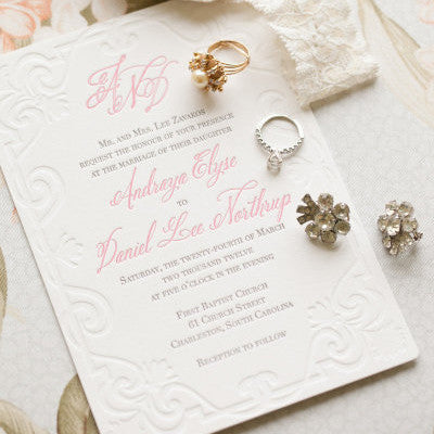 scroll letterpress wedding invitation picture by gayle brooker photography - Letterpress Wedding Invitations