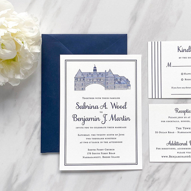 The Towers Wedding Invitation by Scotti Cline Designs