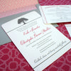 Trellis and Oak Tree Invitation with raspberry edge painting and coordinating custom printed fabric.