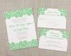 Green Damask Wedding Invitation by Scotti Cline Designs