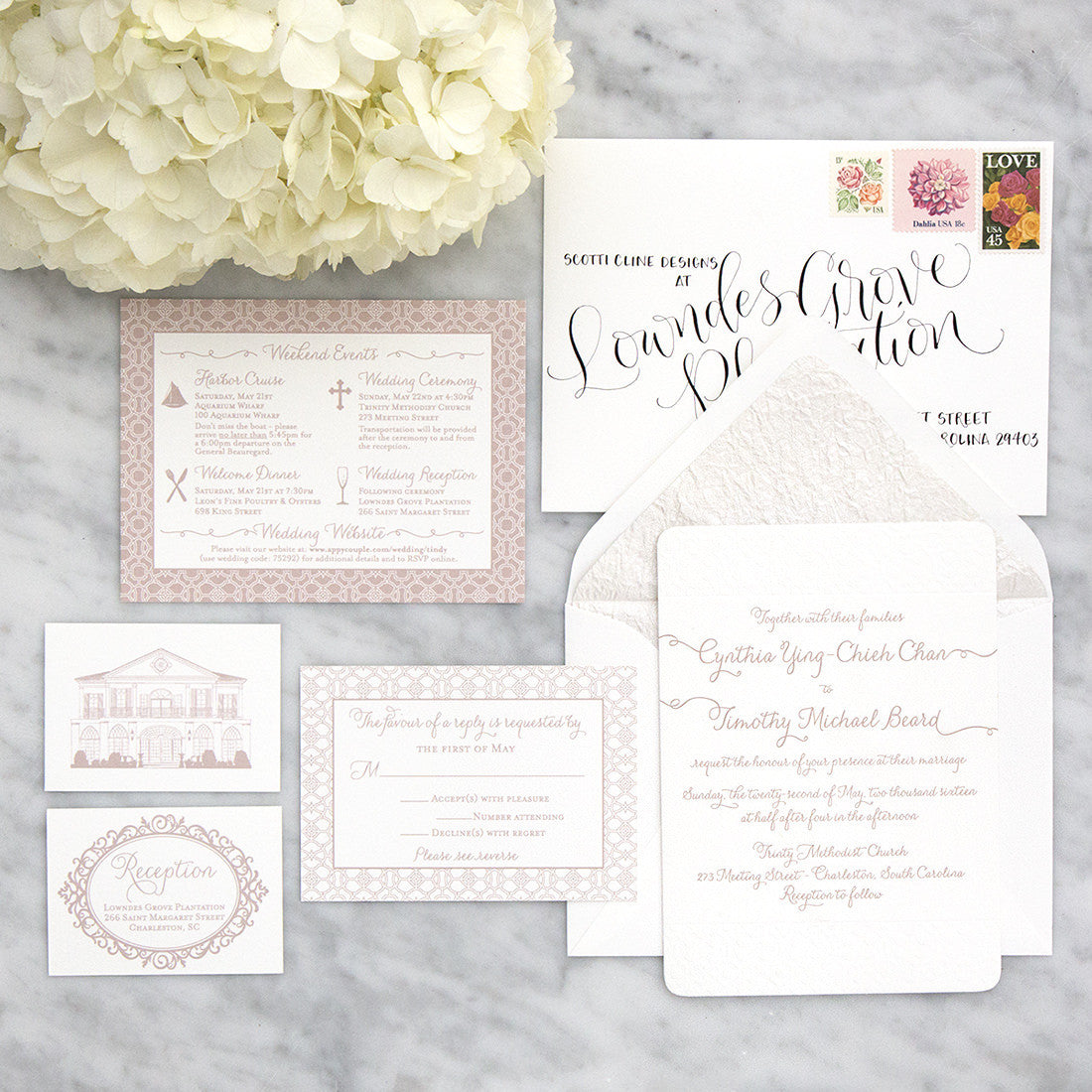 Trailing Names and Pattern Letterpress Invitation by Scotti Cline Designs
