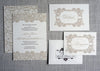 Biltmore Damask Wedding Invitation with details card and response card.