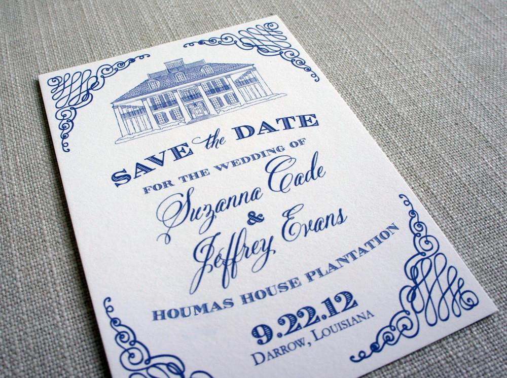 Houmas House Plantation Save the Date in blue with scrollwork corners