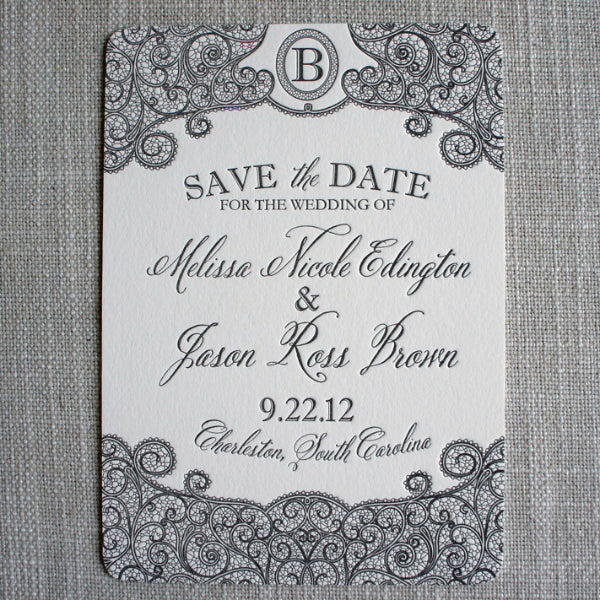 Letterpress Lace Save the Date