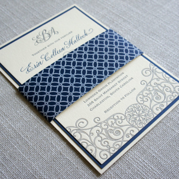 Letterpress Iron Gate Scrollwork Invitation with geometric pattern belly band