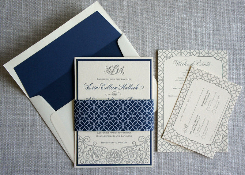 Letterpress Iron Gate Scrollwork Wedding Invitation with geometric pattern details on the inserts.