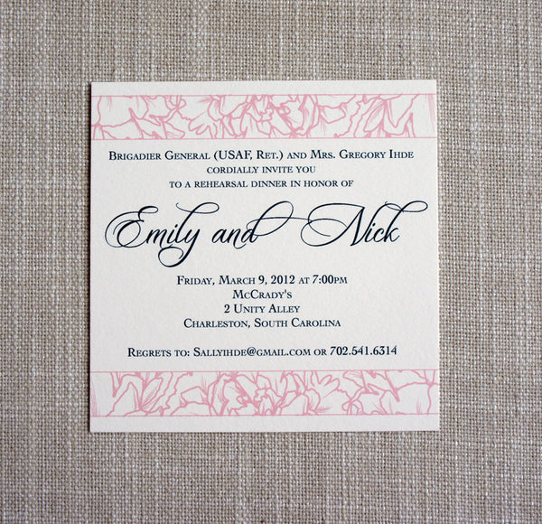 Peony Rehearsal Dinner Invitation with blush pink peonies and navy text