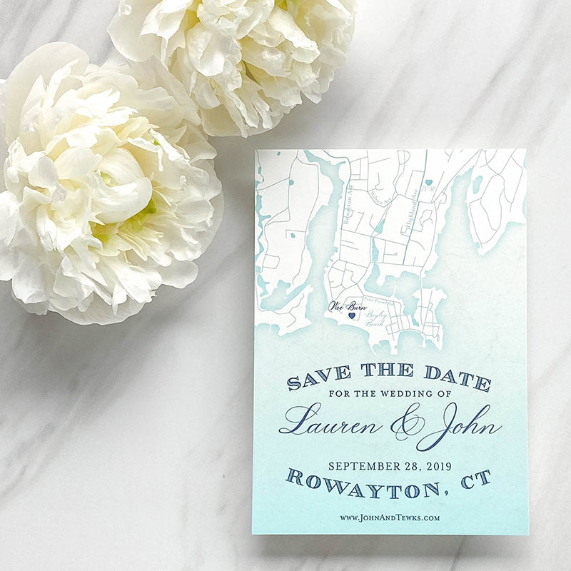 Rowayton Map Save the Date by Scotti Cline Designs