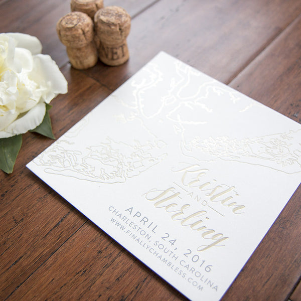 Charleston Outline Foil Save the Date by Scotti Cline Designs