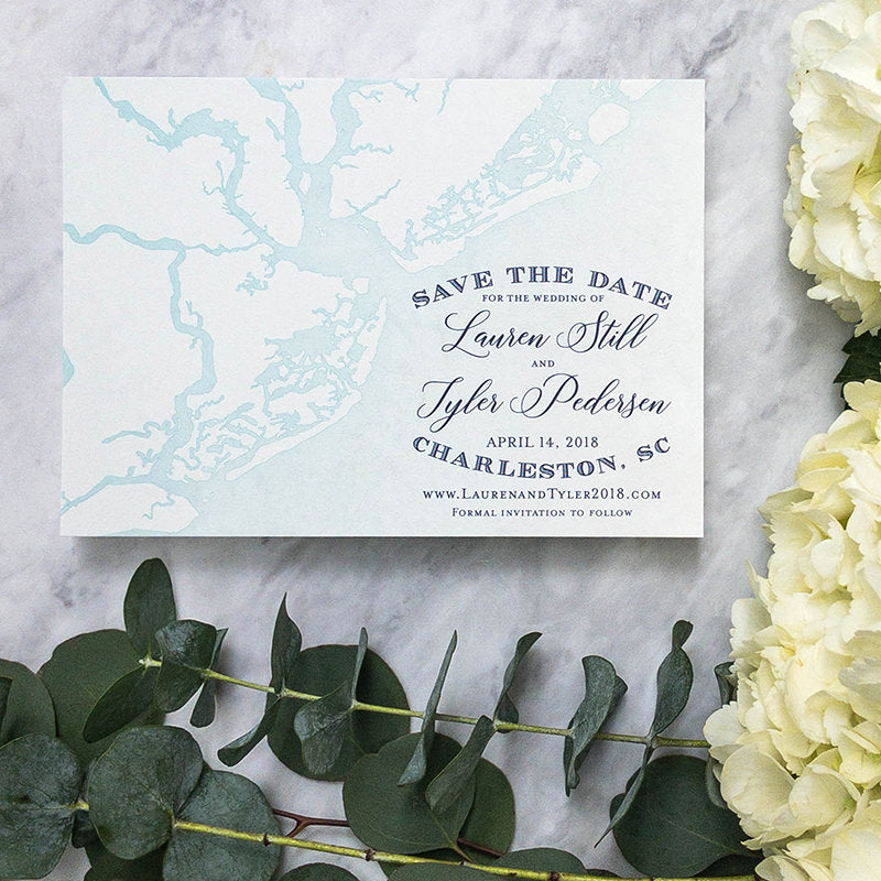 Nautical Charleston Map Save the Date by Scotti Cline Designs