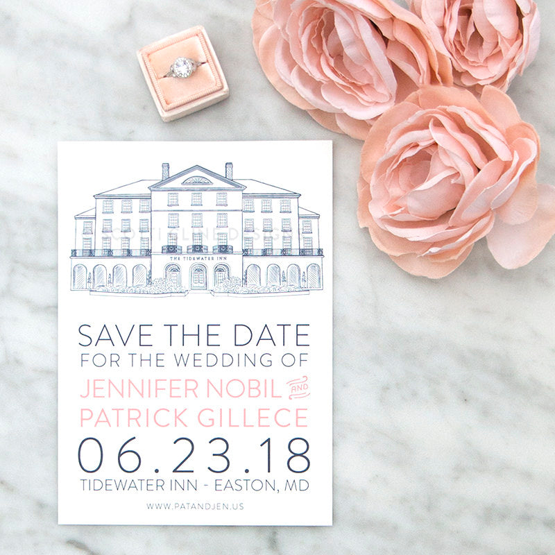 Tidewater Inn Save the Date by Scotti Cline Designs