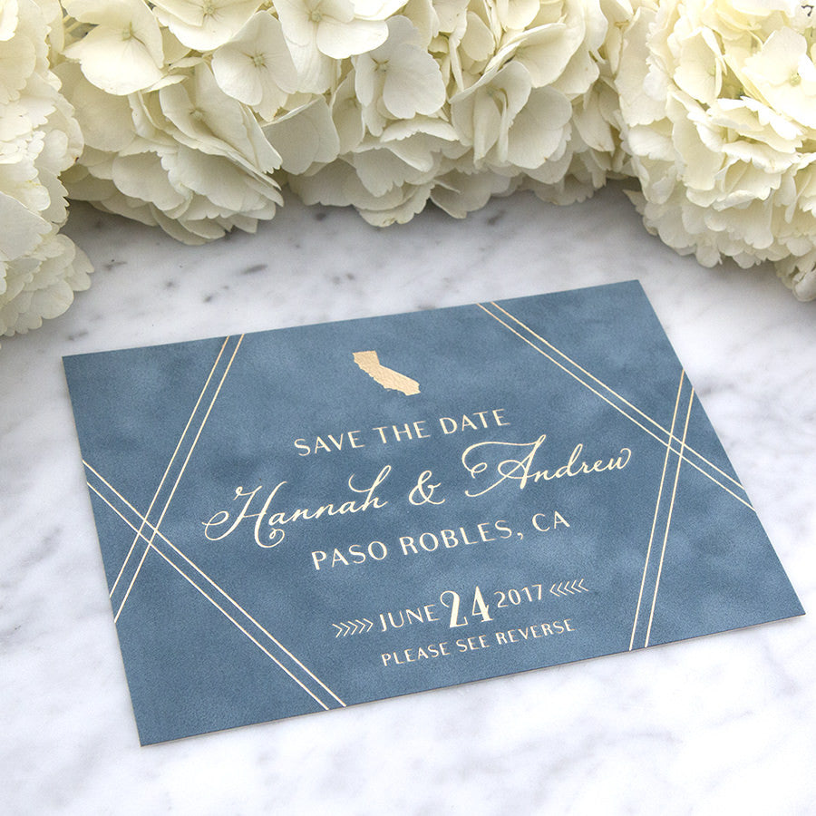 Blue Suede with Foil Printing Save the Date by Scotti Cline Designs