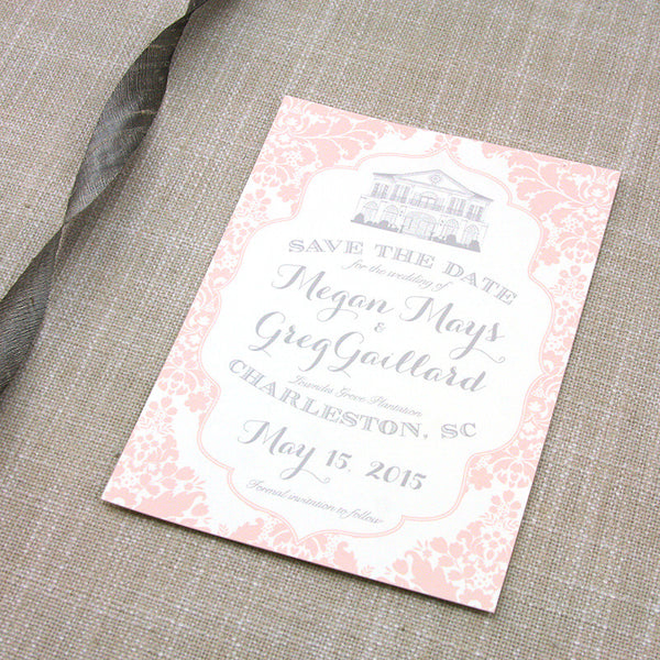 Blush Damask Lowndes Grove Plantation Save the Date by Scotti Cline Designs