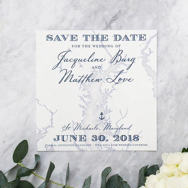 Chesapeake Bay Map Save the Date by Scotti Cline Designs
